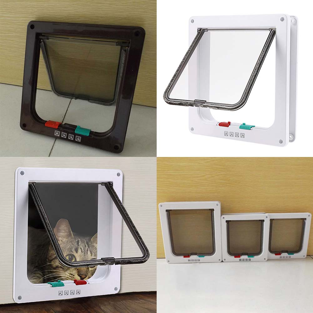 3 Size 4 Way Pet Cat Puppy Dog Gates Door Lockable Safe Flap Door Pet Safety Products