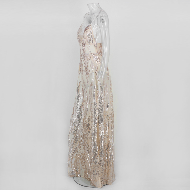 Femmes Taille Roseg Parti Cou Robe Haute Longue Maxi Profond Sangle Élégant Dressmecb V D'été Fendu Sexy Paillettes mwPvy8ONn0