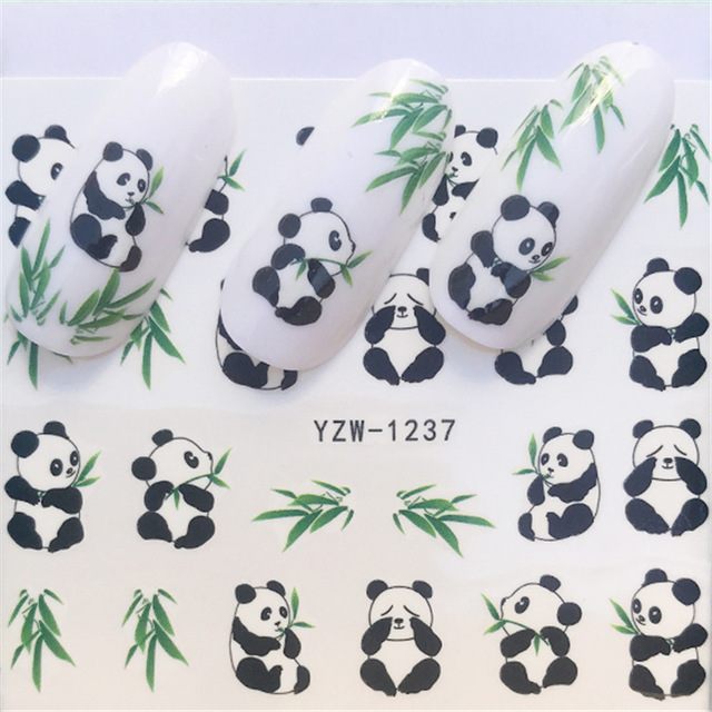 US $0 22 |2018 All New Nail Paste Stickers, Cartoon Panda Peach Heart  Feather Lip Print High heeled Shoes, Fingernail Applique, Nail Stick-in  Stickers