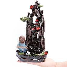 Incensory Buddha statue Incense cones Ceramic Censer holder Burner Zen Backflow burner smoke+10 Cones