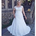 Elegant A-line Lace Plus Size Wedding Dresses Short Sleeve Appliques Bridal Gowns Lace Up Back Vestido de noiva