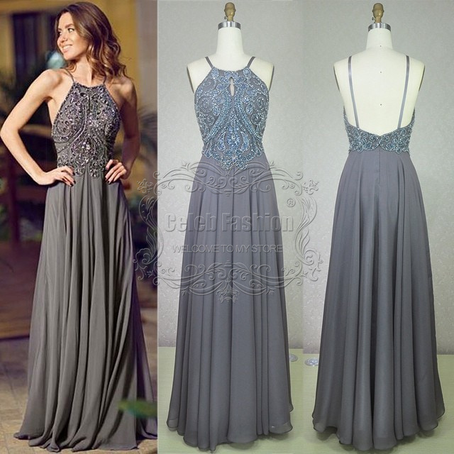 d90181238d Sparkly Crystal Beading Bodice Halter Neck Off Shoulder Long Backless Prom  Dress Gray Luxury Real Picture Prom Party Dress