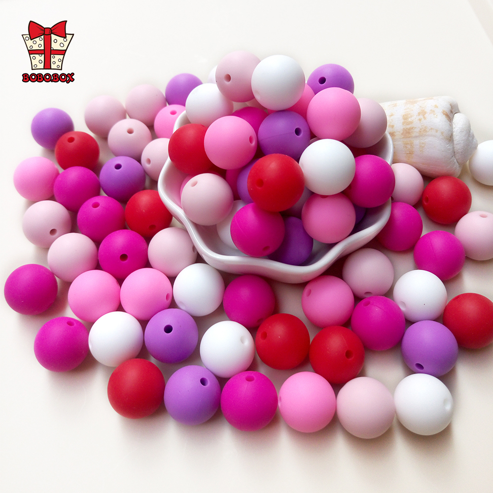 BOBO.BOX 10pcs 9mm Silicone Beads Food Grade Baby Teething Beads Round Products Chews Pacifier Chain Clips Beads Baby Teethers