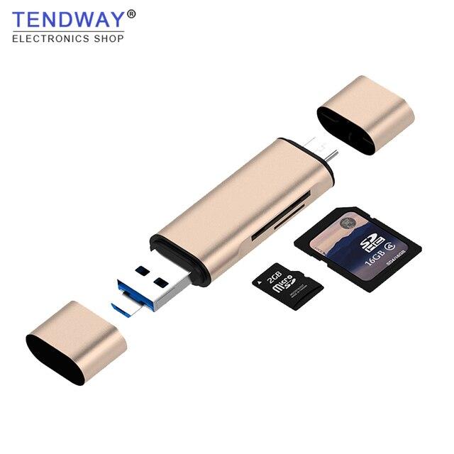 Tendway 5-in-1 typ C OTG czytnik kart sd z usb żeńskie interfejs usb do komputera 3.0 karta pamięci tf adapter do czytnika komputera