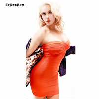 ERDAOBEN High Quality Winter Elastic Bandage Gold Sexy Black Party Dresses DR724