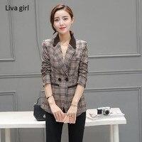 Women Blazer long sleeve suit jacket female leisure Outerwear Korean version large size shirt spring and autumn Slim small