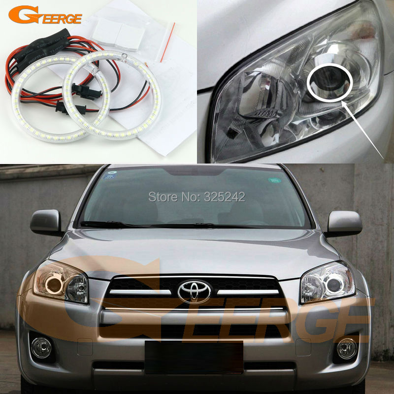 For Toyota RAV4 2009 2010 2011 2012 PROJECTOR HEADLIGHT Excellent Ultra bright illumination smd led Angel Eyes Halo Ring kit 2pcs purple blue red green led demon eyes for bixenon projector lens hella5 q5 2 5inch and 3 0inch headlight angel devil demon