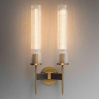 Светодиодный Современный латунь настенный светильник бра ребристые стекло ретро медь прикроватная тумбочка для спальни отель Ресторан Ло
