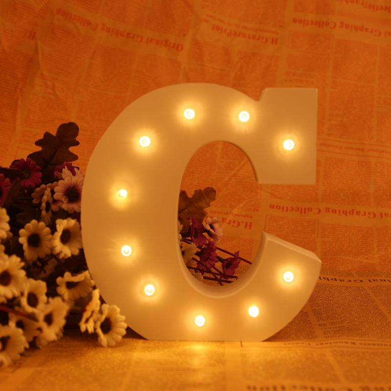 C Style Wooden Letter LED Marquee Sign Alphabet Light Wall <font><b>Decoration</b></font> Light Up <font><b>Lamp</b></font> Warm White Night Light