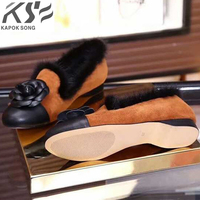 Fashion Designer Camellia Flats Women Shoes Mink Hair Warm Genuine Really Leather Shoes Luxury Brand Comfortable