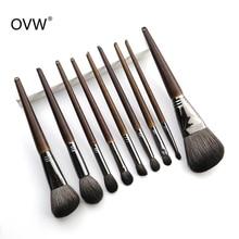 OVW все козьей шерсти 9 шт. макияж кисточки набор Professional Cosmetic conjunto pinceis де maquiagem для тени век Контур лица общая