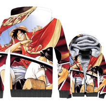 One Piece Monkey D. Luffy Print 3D Jacket 2019 New Winter Warm Harajuku Hoodies Fashion Mens Sweatshirts Short Men Coat