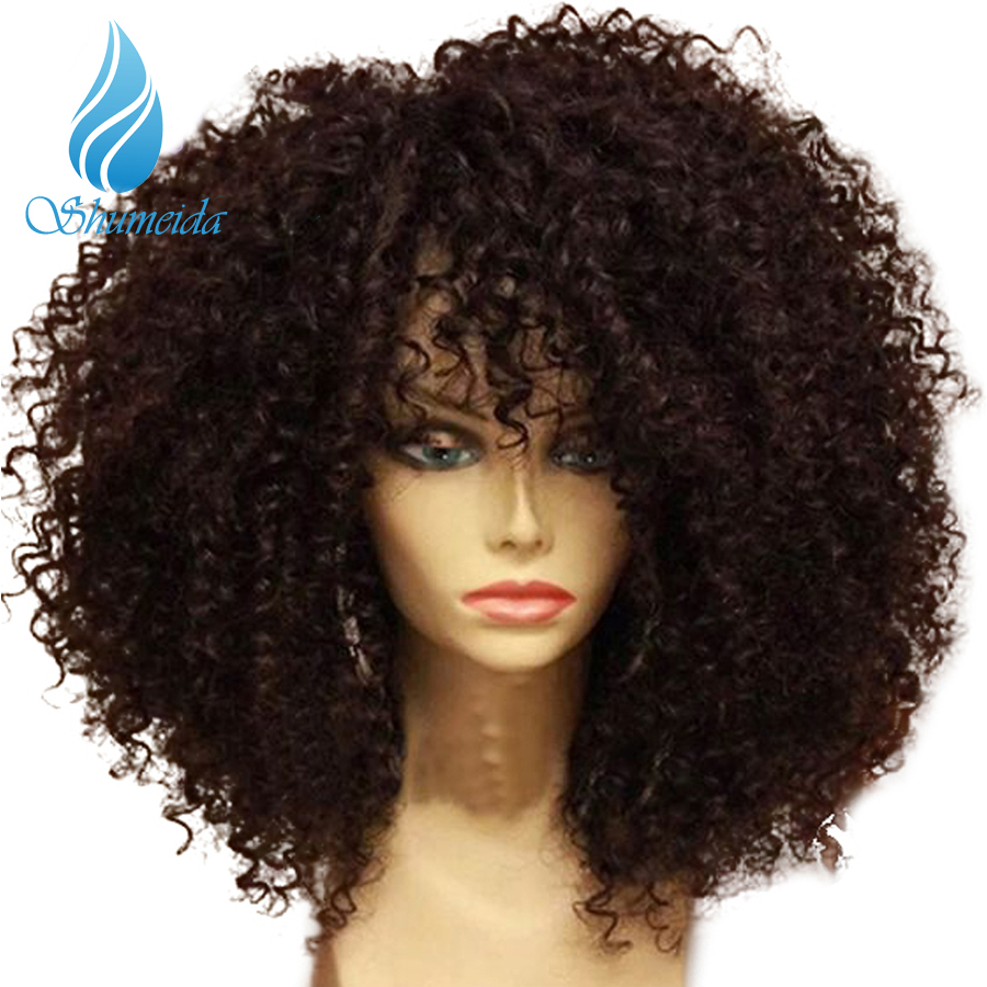 SHUMEIDA 250 Density Lace Front Human Hair Wigs With Baby Hair Kinky Curly Human Hair Lace Wigs Peruvian Wig Bleached Knots