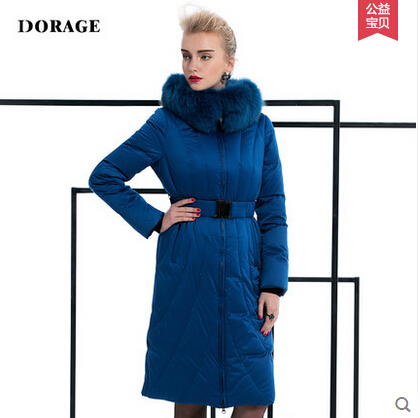 2015 New Hot Winter Thicken Warm Woman Down jacket Coat Parkas Outerwear Hooded Fox Fur collar Long Plus Size 2XXL Goose Blue 2015 new hot winter thicken warm woman down jacket coat parkas outerwear hooded fox fur collar luxury long plus size 2xxl goose
