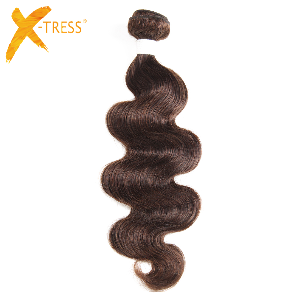 X-TRESS Brazilian Body Wave Hair Extensions 8-26inch 100g Human Hair Weave Bundles 1 Piece Non-Remy Hair Weaving Free Shipping