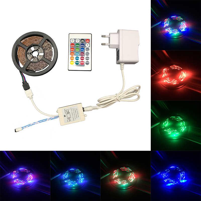 SMD3528 2835 RGB LED Lampu Strip 5 M 300 LED Fleksibel Strip 60LED/M Rgb Remote Controller 2A Adaptor pita Dekorasi Rumah