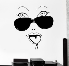High Quality Home Wall Stickers Hot Women Face Glamour Glass Vinyl Art Decor Decals GW-90