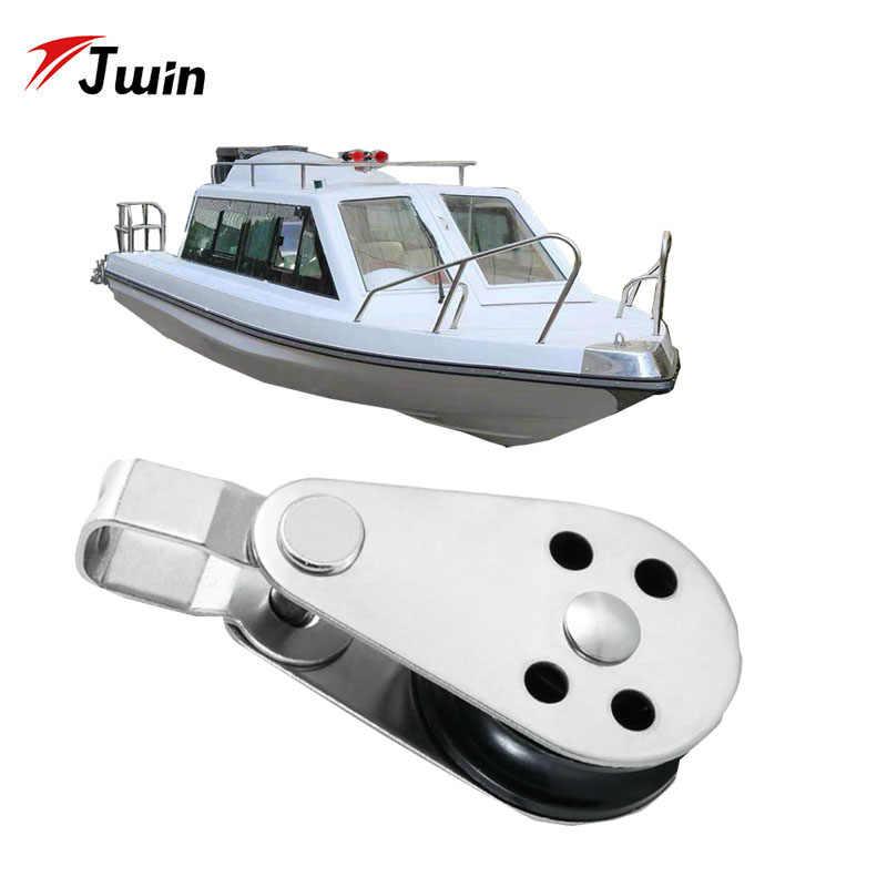 2 sztuk ze stali nierdzewnej stalowe koło linowe koła bloki liny Runner łódź kajak akcesoria kajak kotwica wózek zestaw dla 2mm do 8mm liny