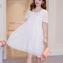 Lace Dress Women White Elegant lace  casual Short Sleeve Ruffles Sexy Deep round neck Summer Dresses 2018 82A