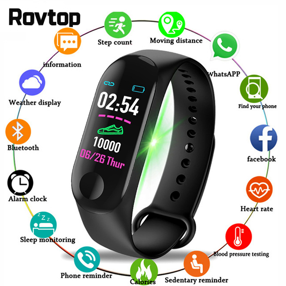 Bluetooth Watch Wristband Fitness-Tracker Blood-Pressure Health Waterproof M3-Plus