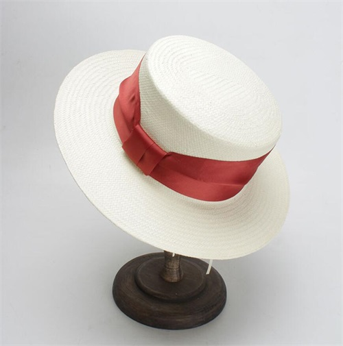 6130af198da27 6pcs Unique Women Ivory Paper Straw Boater Hats Black Ribbon Straw Hat  Ladies Summer Blue Band Cream Beach Sun Caps Wholesale