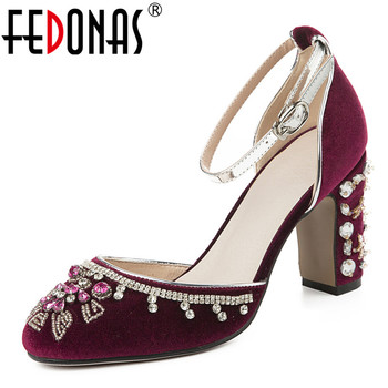 FEDONAS Classic Design Women Fashion String Bead Crystal Decoration Sandals Elegant Flock Buckle Shoes High Heels Shoes Woman