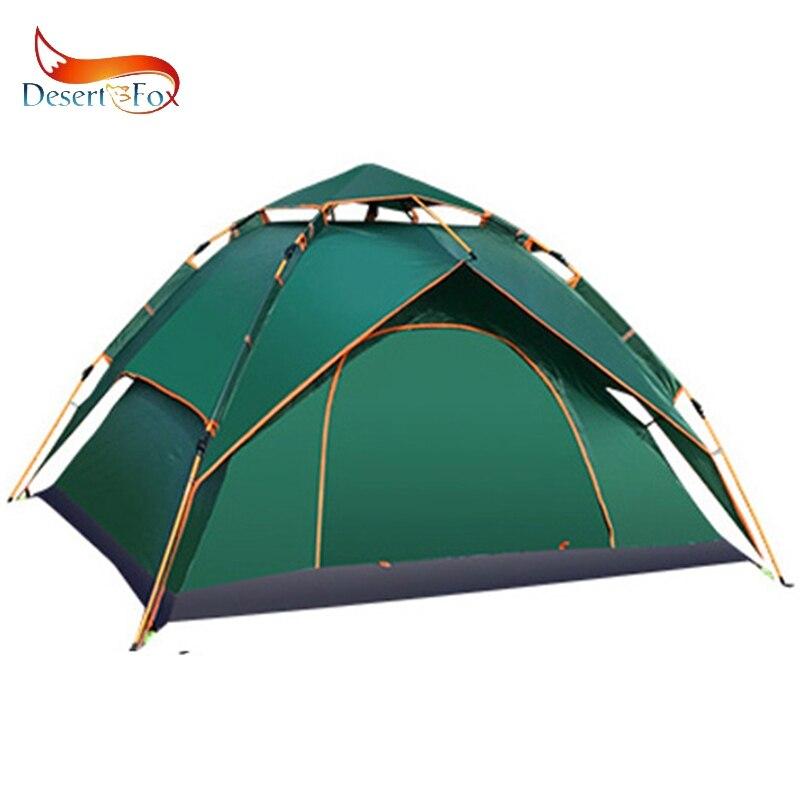 Désert & renard extérieur 3-4 personnes tente automatique Camping Double couche étanche extérieur abri solaire Portable sac à main tente de voyage