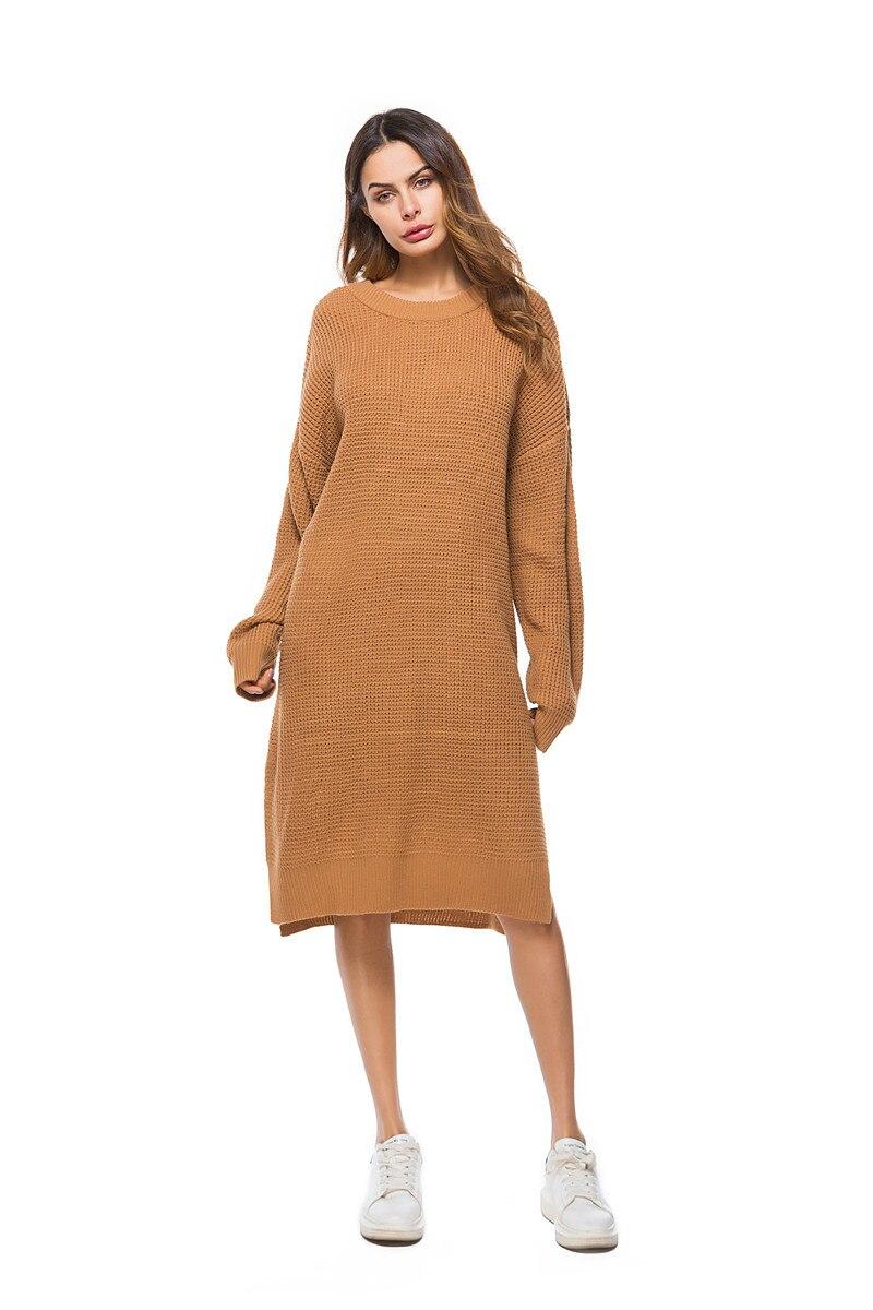Fall Winter Vintage Mustard Side Slit Crochet Sweater Dress for Women Cute Ladies Retro Cosy Loose Split Pullover One Size 32
