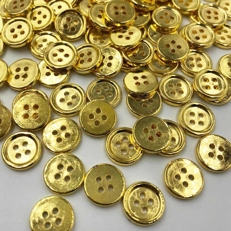 10/50/100 piezas botones de plástico dorado 12mm artesanía de coser 4 agujeros PT174