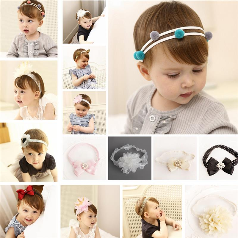 Baby Girls Headbands Cute Baby Headband Princess Floral Bow Baby Hair Accessories Elastic Tiara Infantil Girl Gift 15pcs lot stretch elastic tutu headbands diy headband hair accessories 1 5 inch crochet headband free shipping 33colors in stock