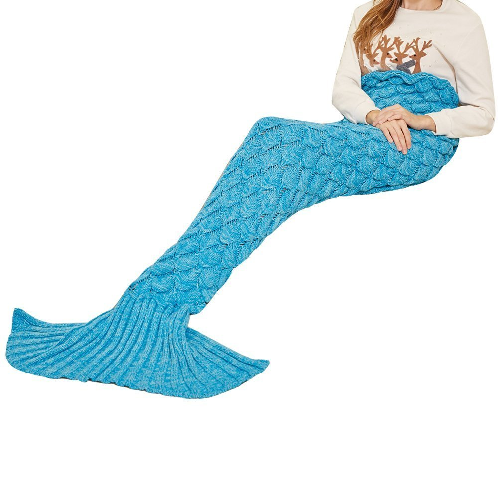 CAMMITEVER 2 Sizes Handmade Fleece Mermaid Tail Blanket For Adults Super Soft All Seasons Sleeping Bags Best Gifts Blankets