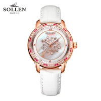 The Latest Luxury Pearl Diamond Ladies Fashion Automatic Mechanical Watch Lady Leather Waterproof Tourbillon Clock Women