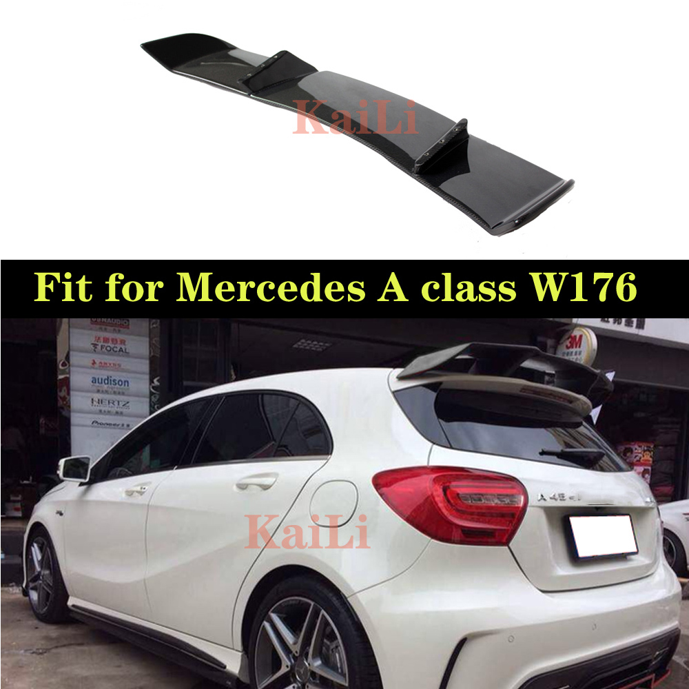 R Style Carbon <font><b>Spoilers</b></font> For <font><b>Mercedes</b></font> <font><b>W176</b></font> <font><b>A</b></font> <font><b>Class</b></font> 5-door Hatchback 2013 - 2018 A180 A200 A250 A45 <font><b>Rear</b></font> Boot <font><b>Spoiler</b></font> Tail Lid image