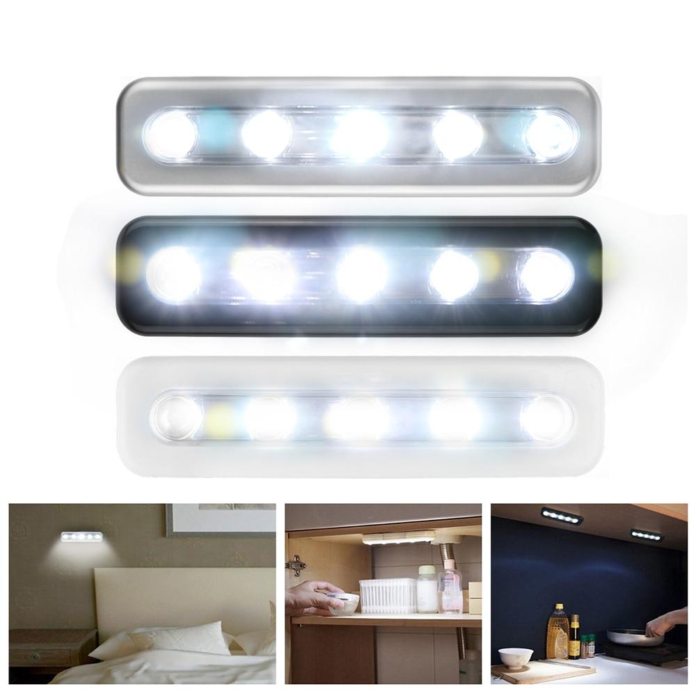 Mini 5 LED Cabinet Light Closet Push Light Battery ...