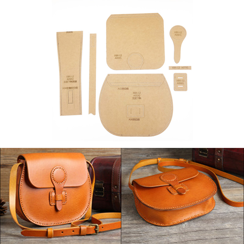 1set Leather Craft Handbag Sewing Pattern Hard Kraft Paper Stencil Template DIY Handmade Craft Supplies 210x190x65mm