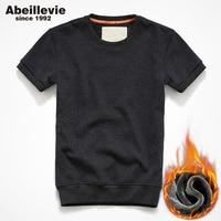 Abeillevie סוודרים של גברים שרוול קצר נים סתיו חורף צמר אופנה רחוב מזדמן חולצות גברים פנאי אימון תלבש טי