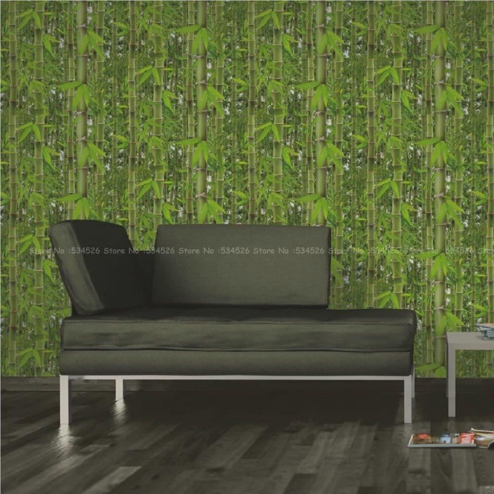 Green Rainforest 3D Bamboo Tree Leaf Muriva Wallpaper Wood