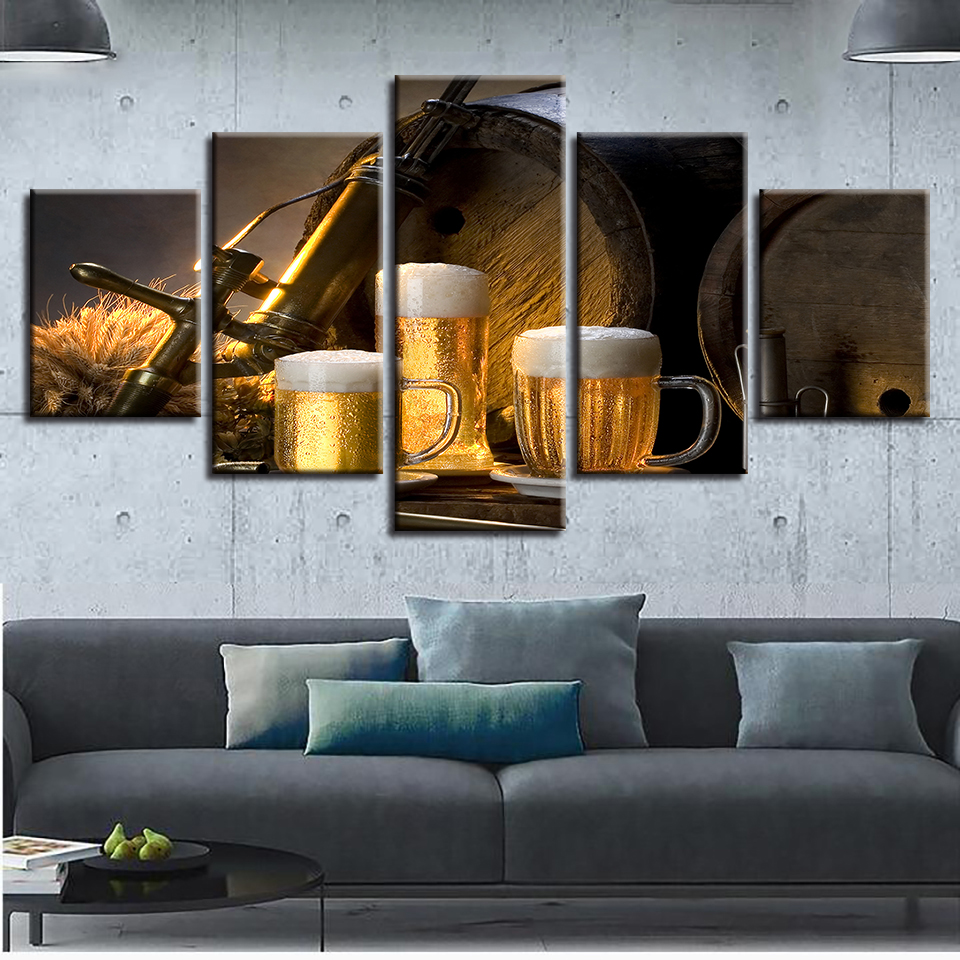 Modern Home Decor HD Print Painting On Canvas Artworks 5 Pieces ...