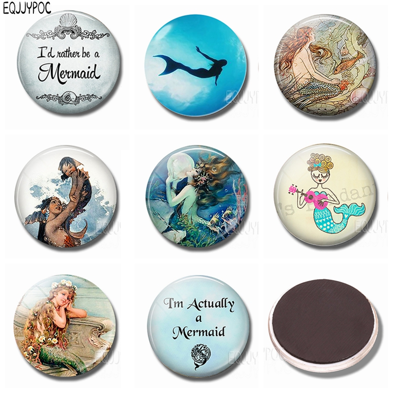 Cartoon Fish beauty Fridge Magnet Notes Handmade 30 MM Sea maid Glass Dome Magnetic Refrigerator Stickers Sea maiden Home Decor in Fridge Magnets from Home Garden