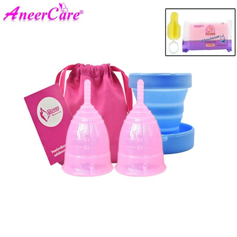2pcs menstrual cup(S+L)sterilizer silicon copa menstrual coppetta mestruale siliconen menstruatie cup vagina coletor menstrual(China)