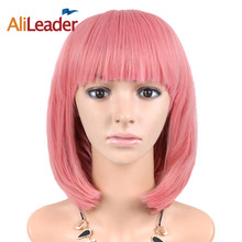 AliLeader Straight Short Bob Wig For Women Cosplay 31 Colors Pink Yellow Black Red Purple Ombre Cosplay Wigs Synthetic Hair(China)