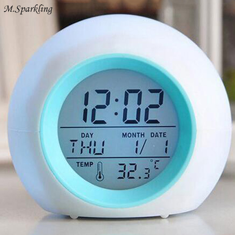 M.Sparkling Desk Clock Multi-Function Colorful Alarm Clock Round Home Living Room Clocks Bedroom Decorate Freeshipping