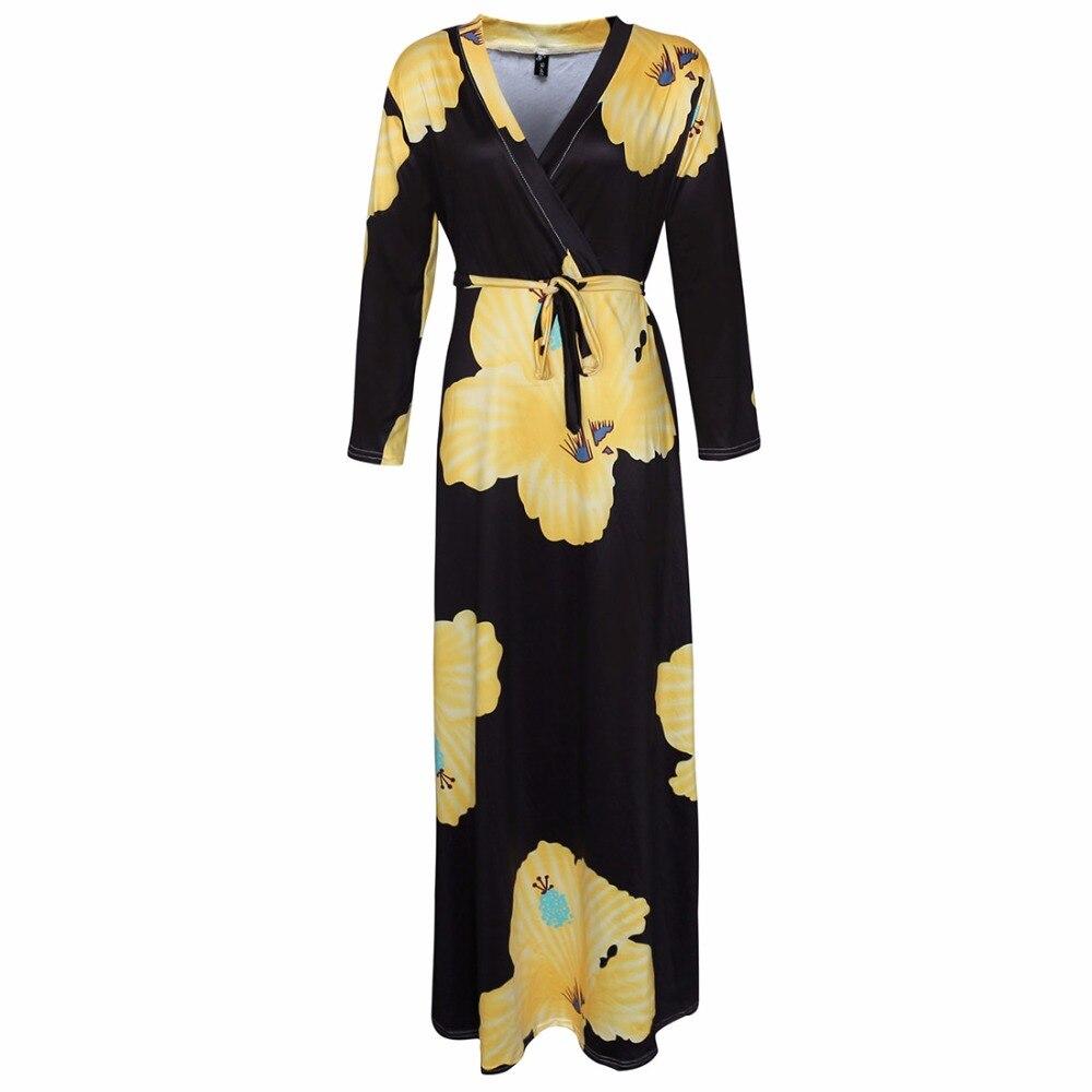 L 5XL women fat plus size dress 2018 New Fashion yellow Flower Print ... 25cf04fdb328