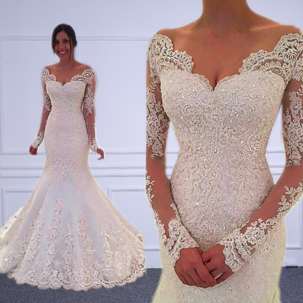 Vestido de noiva Long Sleeves Mermaid Wedding Dresses Sheer Tulle Back Sexy Mermaid Wedding Gowns Robe