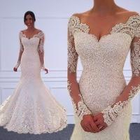 Vestido de noiva Long Sleeves Mermaid Wedding Dresses Sheer Tulle Back Sexy Mermaid Wedding Gowns Robe de mariage Gelinlik