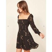 new women elegant stylish print black lace elastic long sleeve Dress off the shoulder mini ladies dress casual chic vestidos off the shoulder mini dress in black