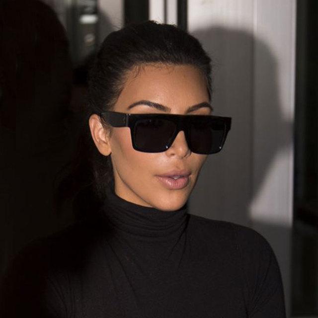 f1f0fba248b Luxury Brand Designer Kim Kardashian Flat Top Sunglasses For Women Fashion  Brand Designer Female Big Sun Glasses UV400