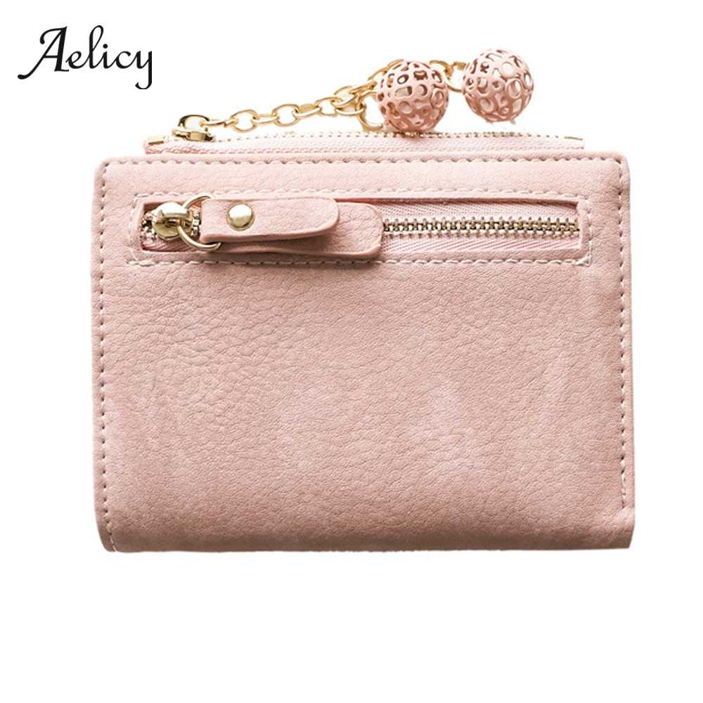 Aelicy Fashion Short Wallet Women Small Purse Simple Casual Lady Coin Purse Short Mini Girl Pendant Wallet Card Holder 605