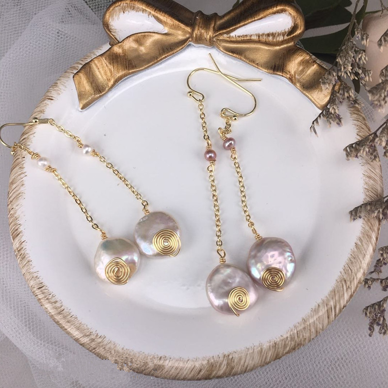 Handmade Natural Baroque Pearl Long Drop Dangle Women Earrings Fashion Jewelry Female Personality Ear Hook FL2644