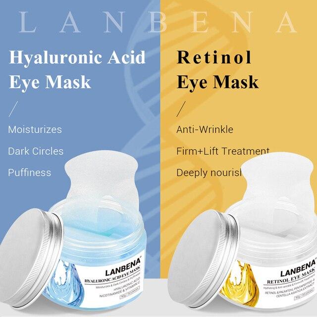 Máscara de ojo LANBENA ácido hialurónico Retinol hidratante Círculos oscuros Puffiness Anti arrugas reafirmante nutre profundamente Unisex